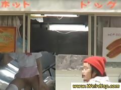 Horny Japan Waitress Gets Slit Vibrated Upskirt