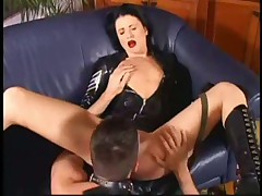 Hot Russian chick Diana fucks in leather sex suit