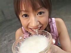 Momo Iizawa Drinks the Bukkake Trophy