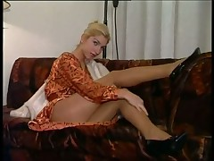 Sultry Blonde Wearing Pantyhose Dances