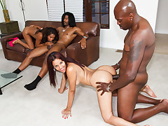 Jack Napier and Lex Steele nail two ebony sluts in crazy sex