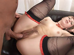 Amazing Brunette Enjoys Getting Her Hairy Pussy Drilled