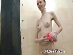 polish super skinny girl in the shower