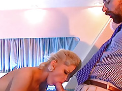 Hot blonde tramp gets her ass fuck and lick the cum after