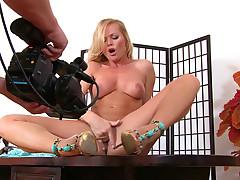Naughty Silvia Saint rubs her beautiful & shaved pussy !