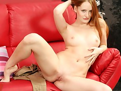 Beautiful redhead talks with Silvia and then she strips !