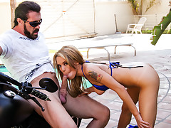 Dirty Renae Laying On Her New Motorcycle, Ready For Some BJ