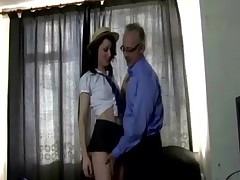 Young babe fucked by old dude