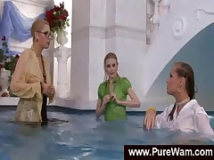 Lesbian girls with soaked silky clothes in pool