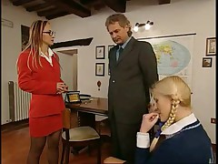 Teacher Fucks Mom &amp- Schoolgirl In Parent Conference
