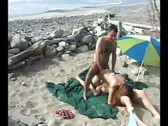 Hot Threesome At The Beach