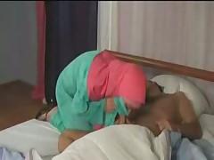 Arab lady wakes sleeping neighbor