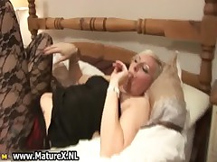 Blonde mature lady in pantyhose