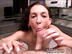 Horny college coed in panties takes his cock in blowjob then homemade sex