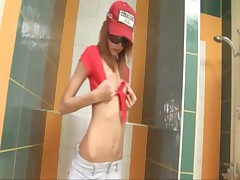 Amazingly skinny proana teen on toilet