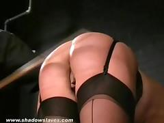 English Caning and Spanking of Bruised Blonde Slavegirl Crystel Lei