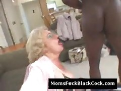 Horny big black dude fucks old slutty doggystyle in kitchen