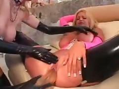Latex fetish ladies lesbian threesome