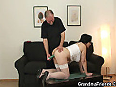 She takes two cocks from both sides