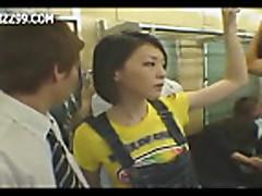 Mosaic; anthomaniac girl in train gives geek handjob