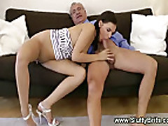 Horny young girl gives bj to old man