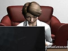 Busty 3d cartoon hottie masturbating
