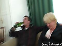 Drunk granny is double fucked