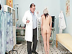 Hot blond babe vagina examination and enema