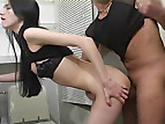 Smiling Russian girl fucked in the bathroom