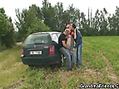 Two dudes pick up old bitch and screw her