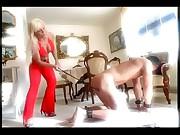 Busty mistress spanking her slave