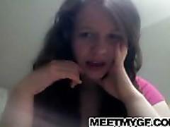 Cam; Cute brunette teen strips on webcam