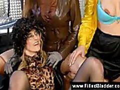 Piss; Cumming and pissing on three girls